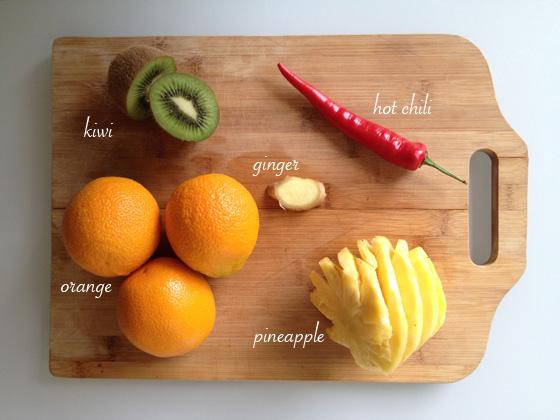 Kiwi, ginger, hot chilli, orange, pineapple - top vitamin C foods
