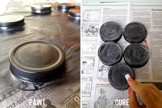 Paint & cure the mason jar lids