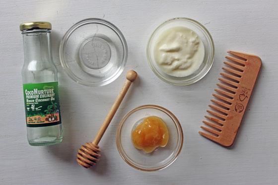 DIY hair mask ingredients - coconut oil, honey and yoghurt