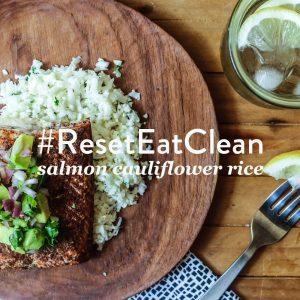 #ResetEatClean // Salmon Cauliflower Rice Recipe | littlegreendot.com